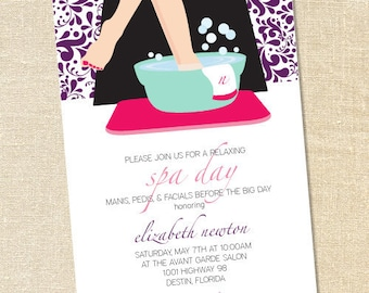Sweet Wishes Spa Day Pedicure Party Invitations - PRINTED - Digital File Also Available