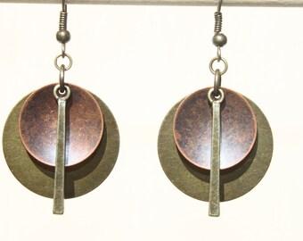 Boho Earrings Bohemian Earrings Mixed Metal Earrings Copper Brass Earrings Dangle Earrings Boho Jewelry Ethnic Earrings Gift For women Gift