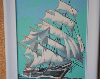 Sailing Sea Vintage Paint By Number Ship at Sea Mid Century Paintings in Bright White Wooden Frame