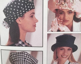ON SALE 1990s Hat Sewing Pattern, McCall's Crafts 6077,The Mad Hatter, Millinery Hats,Brim Hat, Baseball Cap, 10 Styles, Women's Hats, Fabri