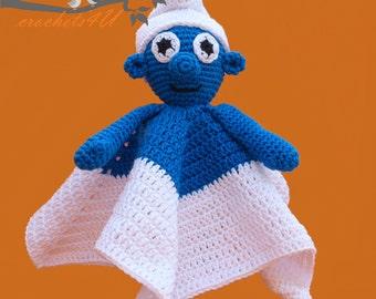 crochet pattern lovey smurf, security blanket, crochet pattern