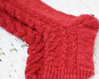 Hand knitted women fishnet Socks red rustic white wool gift for her