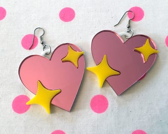 Sparkly Heart Emoji Earrings, Laser Cut Acrylic, Plastic Jewelry