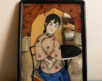 Antique Chinese Reverse glass painting Antique reverse painted Mirror 19thc Eglomise lady in blush pink top / rare