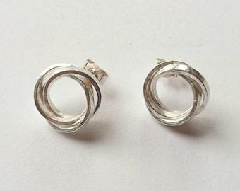 Sterling silver handmade interlocked link earrings, hallmarked in Edinburgh