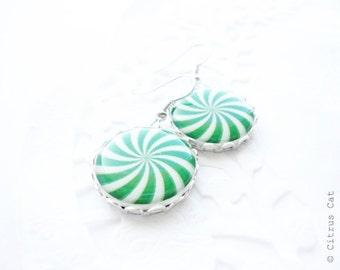 SALE - Green candy earrings, christmas jewelry, christmas green color, green white, carnival jewelry, winter earrings,