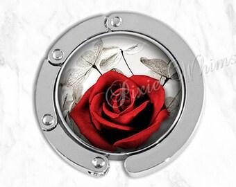 ROSE Purse Hook, Tabletop Purse Hanger, Purse Holder, Bag Hook, Purse Accessory, Handbag Tote Bag Hanger, Red Rose Flower Valentine Gift