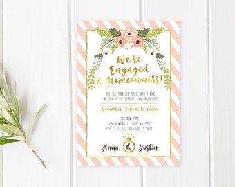 Engagement Party Invitation, Housewarming Party Invitation, Our New House, Engaged, Housewarming and Engagement Party Invitation [545]