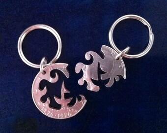 The Soul Mates Half Dollar Interlocking Keychain or Necklace Set
