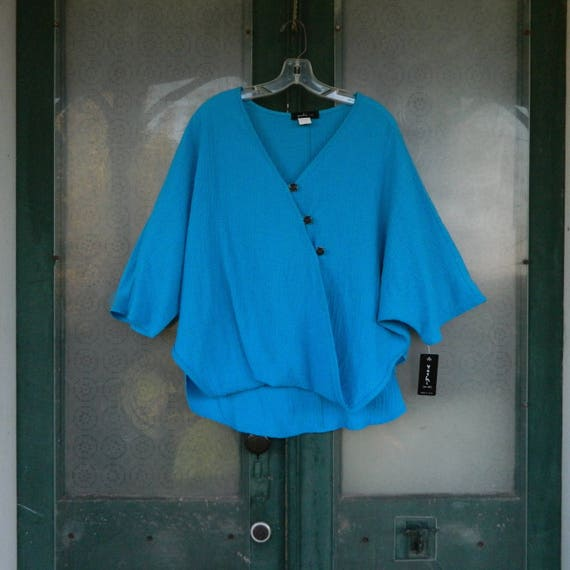 SALE - Yushi Cross-Button Tunic -S- Turquoise Textured Cotton/Poly/Spandex NWT