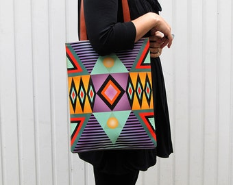 Leather Tote, Laptop bag, 13 Inch Macbook Pro - Tribal Geometric No.2
