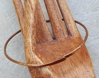 Hammered Copper Bangle - Riveted Copper Bracelet - Thin Copper Bangle -Textured Copper Bangle