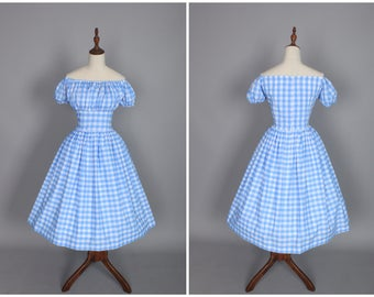 "Loretta Dress ""Sea of Love"" in Light Blue Gingham"