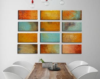 Original Abstract Painting, red orange blue yellow Mixed Media, Colorful Painting, Sculpted Textured Painting, Abstract Art 24x36
