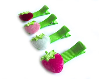 Strawberry Hair Clips Strawberries Red Strawberry Hot Pink Strawberry White Strawberry Velvet Hair Clips Glitter Lime Green Summer Hair Clip