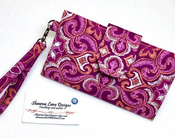women's wallet, colorful bold pink print, organizer wallet, checkbook, cell phone accessory, wristlet, small purse, ready to ship gift