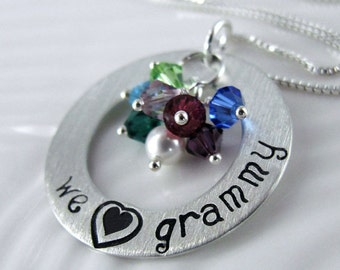 "We Love Grammy Necklace - 1"" Hand Stamped Sterling Silver Donut, Birthstone Crystals SJ133"
