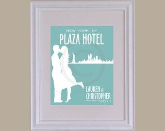 Personalized Wedding & Skyline Silhouette Print // Wedding Keepsake Art Print // Style: East Side // W-G04-1PS HH6