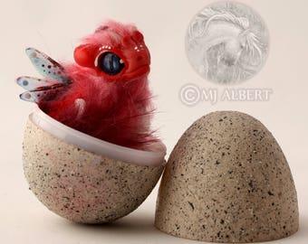 Poseable Dragon - Art Doll - CUSTOM DRAGON - Hatching Egg Handmade Creature - Baby Fantasy Animal - Hatchling Dragon - Mjalbertsculpts