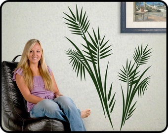 """Large PALM TREE wall decal vinyl - Tropical wall decor, vinyl frond leaves sticker,  40"""" x 29"""""""
