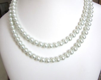 Necklace - Double Strand, Swarovski Pearl Necklace - Perfect for Wedding, Prom or Formal, Bride, Bridesmaid, Mother of the Bride, SRAJD