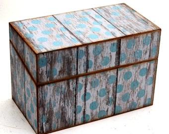 Wood Recipe Box Blue and White Polka Dot Barn Wood Fits 4x6 Cards