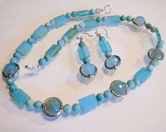 Ocean Blue Agate and Glass Necklace and Earrings Set Handmade