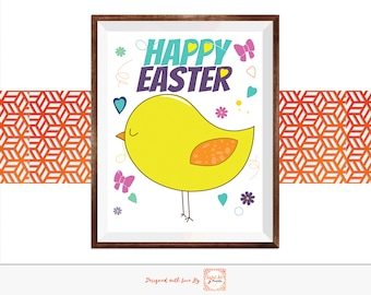 Happy Easter Yellow chick peeps 8 x 10 Digital Printable, Cute Easter Decor Wall Art baby chicken peep easter greeting card gift for kids