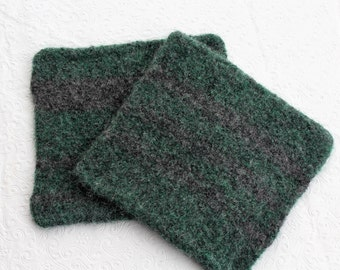 Set Wool Felt Hot Pads Trivets, Forest Green Gray Wool Pot Holder Set, Gray Green Knit Felted Trivet Set, Charcoal Gray Green Wool Trivets