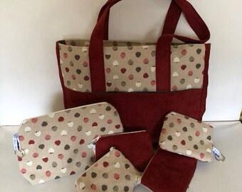 Handbag cotton and suedine