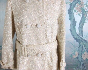 SALE! Rare 1950's Beaded Sequin Wedding Jacket by Gene Shelly! 1960's Sparkly Pea Coat for Winter Wedding over Wedding Dress