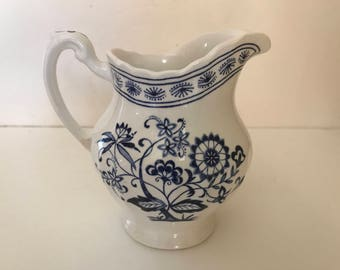 "Vintage  Blue and White J & G Meakin Classic White Creamer  ""Nordic"" Pattern"