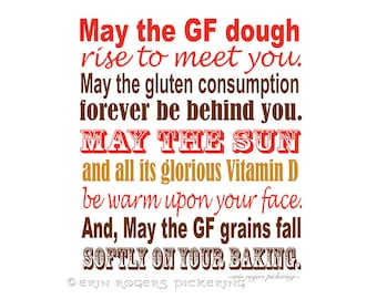 Gluten Free Irish Blessing Sampler in Red, Brown and Gold 8x10 Kitchen Art