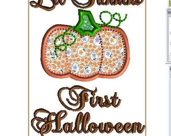 5x7 FIRST HALLOWEEN Lil Punkin design Applique Pumpkin and Stem, so cute with vintage fabric!