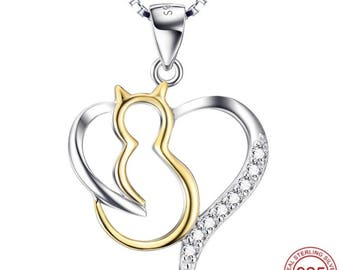 925 Sterling Silver Fairytale Jewelry Cat Heart Pendant Crystal Necklace