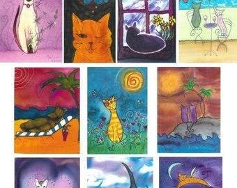 Cat Cards -  Boxed Set of 10 Assorted Cards