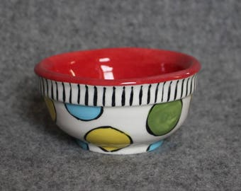 mini bowl, polka dots, teacher appreciation, stripes, prep bowls, dip bowls, jewelry dish, wedding, christmas, bright fun colors, taco bar