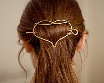 Hammered  Heart Hair barrette, brass Hair slide, Metal Hair barrette with stick,Hair accessories, Gift ideas for Mom, Gift for long hair