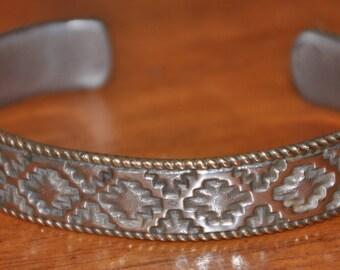Sterling Silver and Brass Stamped Bracelet Navajo Signed