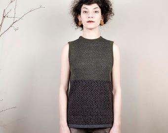 Fashion knitwear, woollen Vests, .100% wool, jacquard design in Italy, Handmade, fashion style