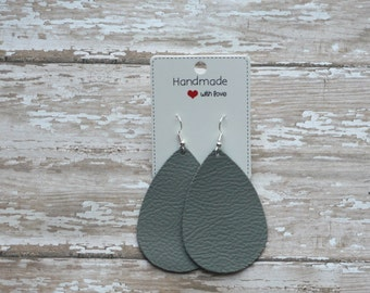 Stone Grey Gray Greige Leather Teardrop Drop Earrings