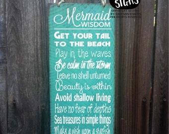 mermaid sign, mermaid decor, advice from a mermaid sign, mermaid decoration, mermaid wall decor, mermaid widsom, 56/108