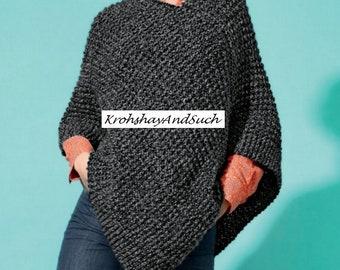 Short Poncho, Easy Knit, Knitting Pattern. PDF Instant Download.