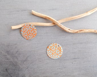 Set of 4 orange and light turquoise sequins