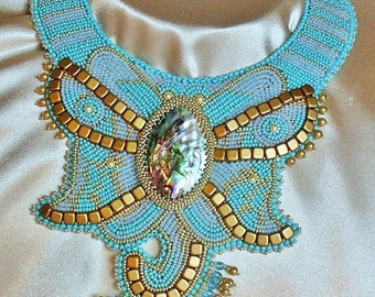 Bead Embroidery Necklace Collar Necklace – Blue,Gold, Bronze - Bead Embroidered OOAK