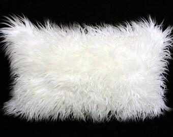 "Decorative Pillow Case, White faux Curly Fur fabric Lumbar pillow case, fits 12""x 20"" insert,  Home Decor"