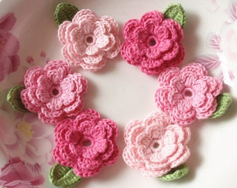 6 Crochet Flowers With Leaves In Lt pink, Pink, Hot Pink YH-014-08