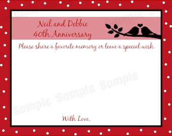 80 - Personalized 40th Anniversary Memory and Wishes Cards  -  Love Birds