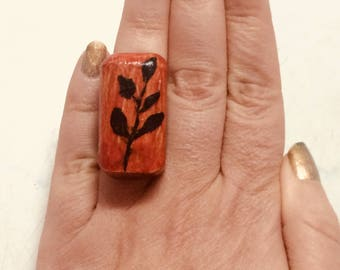 Hand painted upcycled ring - free shipping
