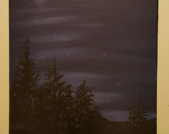 Night Pines- An original acrylic painting on an 8x10 stretched canvas. It will come unframed for you to match your decor.